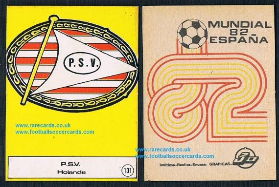1982 Graficas 3D PSV emblem gum card from Spain